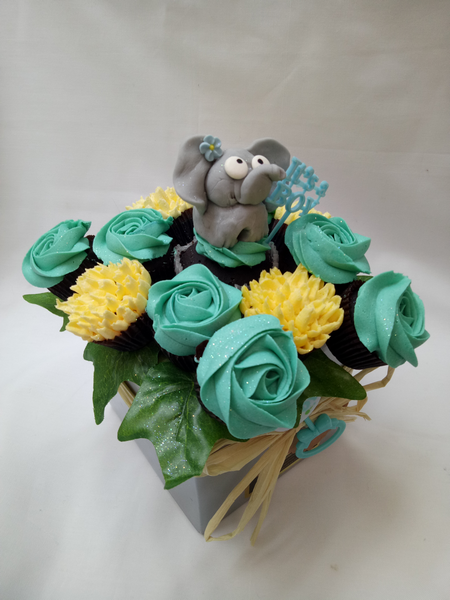 Baby Shower Blue and Lemon Small Bouquet 1